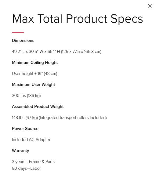 Bowflex Max Total Specs