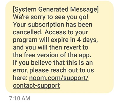 Noom cancelation confirmation